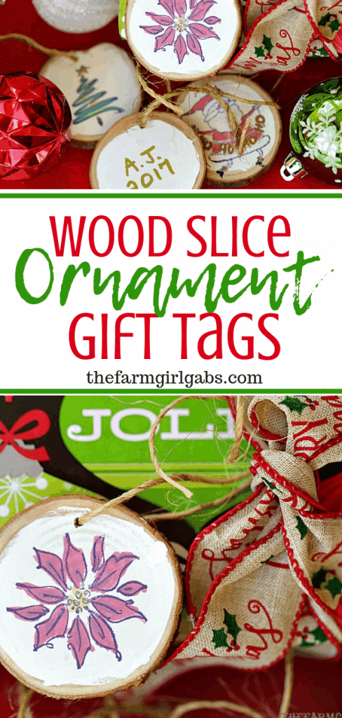 Create these Wood Slice Ornament Gift Tags to adorn your gifts with and hang on the Christmas tree. #Ornaments #Christmasdecor #Christmascrafts #Christmastree #Christmas #Stamping #Crafts #DIY #StampingTechniques #Christmasdecorationideas #Xmastreedecorations #Xmasdecorations #StampinUp