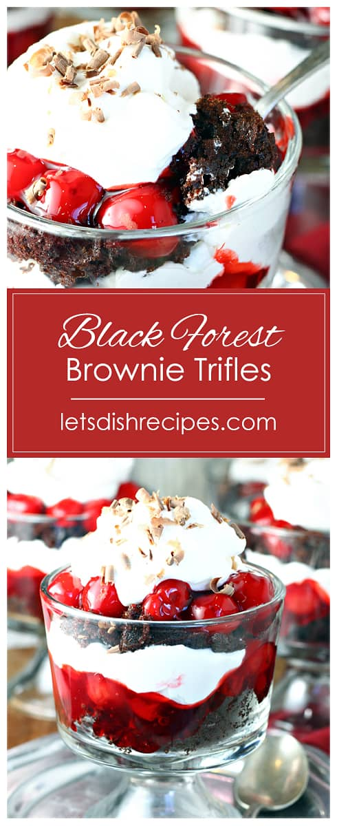 Individual Black Forest Brownie Trifles