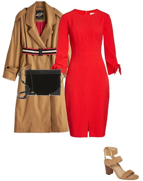 a classic trench coat and red dress | 40plusstyle.com