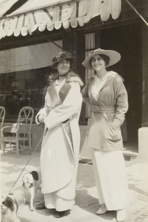 Coco Chanel's sister, Antoinette Chanel and aunt, Adrienne Chanel modelling Chanel's designs