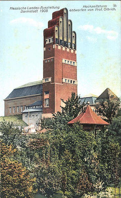 Hochzeitsturm auf der Mathildenhöhe in Darmstadt - historische Postkarte 1908