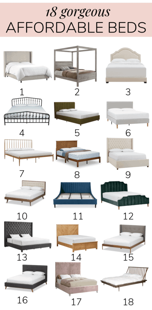 collage of 18 cheap bed frame options