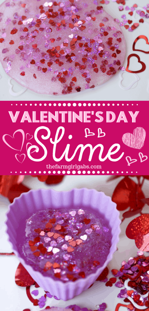 You and your kids will LOVE making this easy DIY Valentine's Day Slime project. This fun craft makes a great party favor too! #Slime #ValentinesDay #Crafts #DIY #Kids #KidsCrafts #PartyIdeas #SlimeRecipe