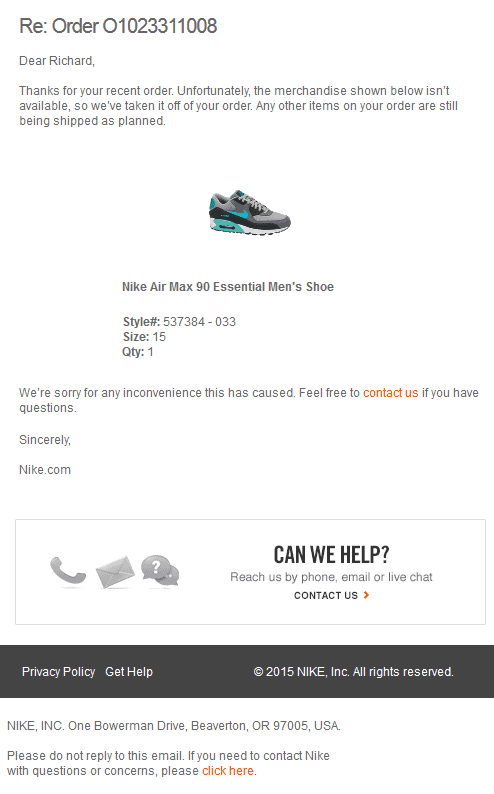 Nike.com has terrible customer service - Bent Corner