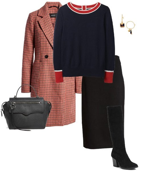 plaid coat, sweater and pencil skirt | 40plusstyle.com