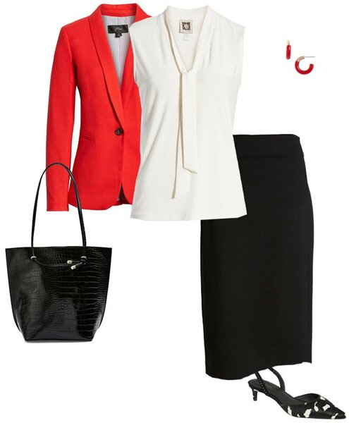 black, white and red is always a classic outfit combination | 40plusstyle.com