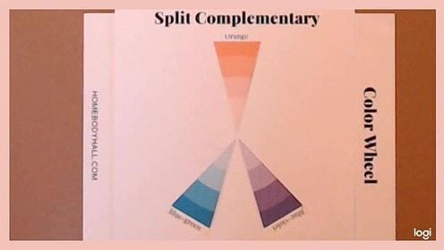 Split complementary color scheme on color wheel: orange, blue-green, blue-violet