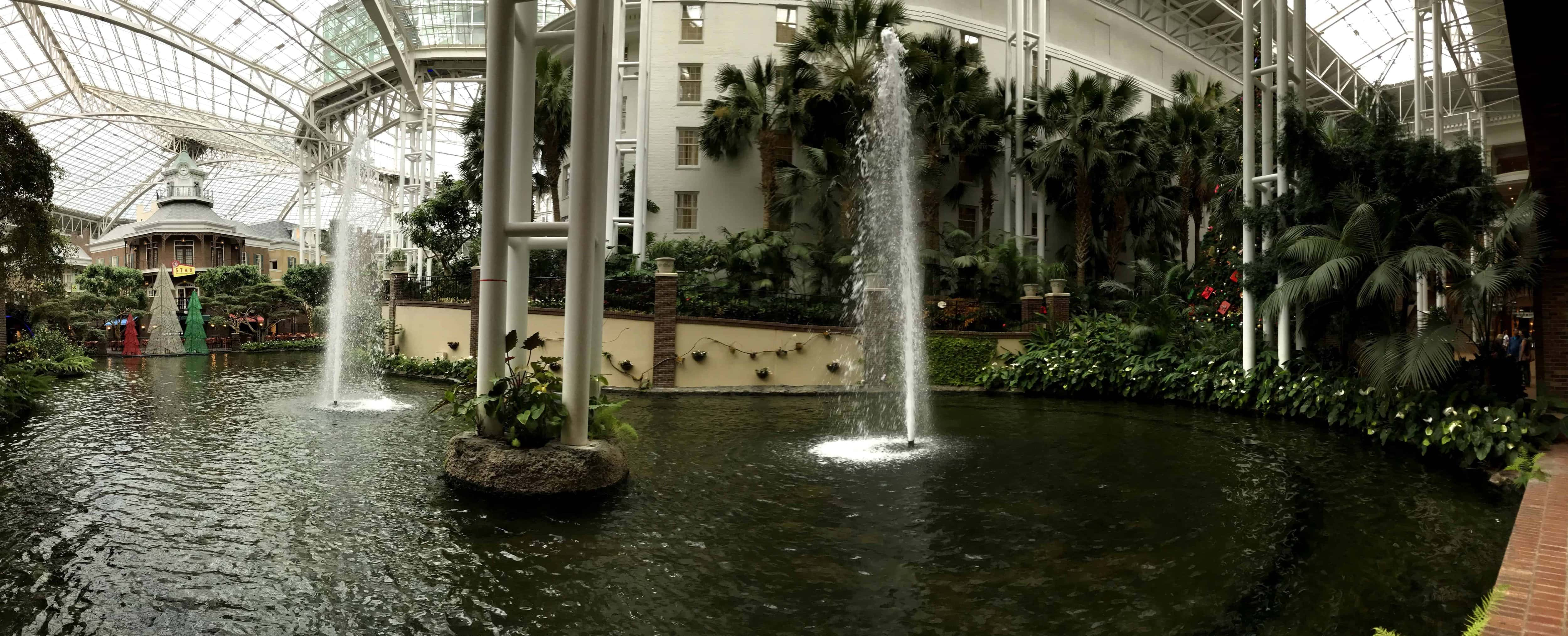 water fountains inside Gaylord Opryland Resort at Christmas time