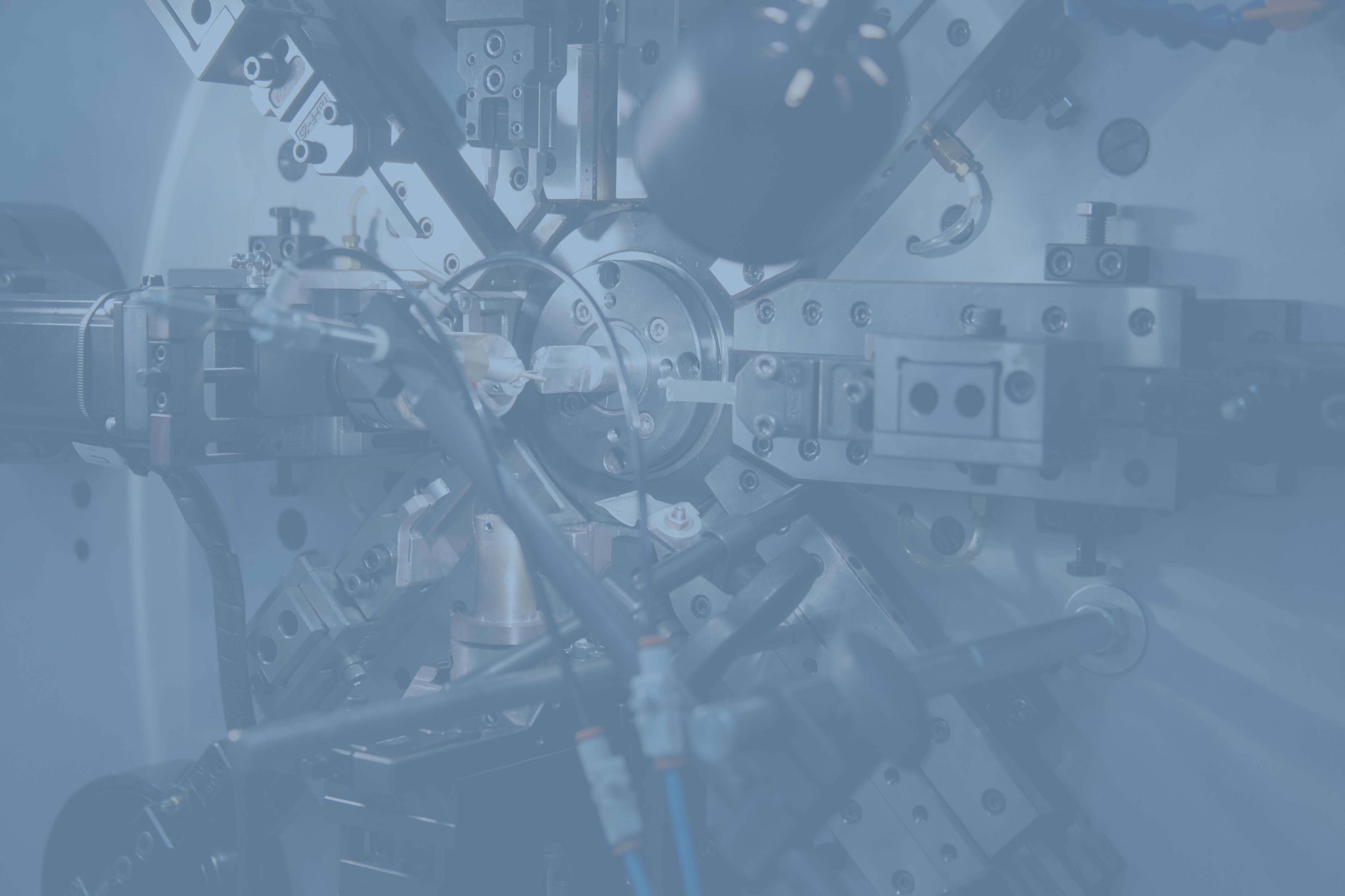 technical machine with a blue overlay