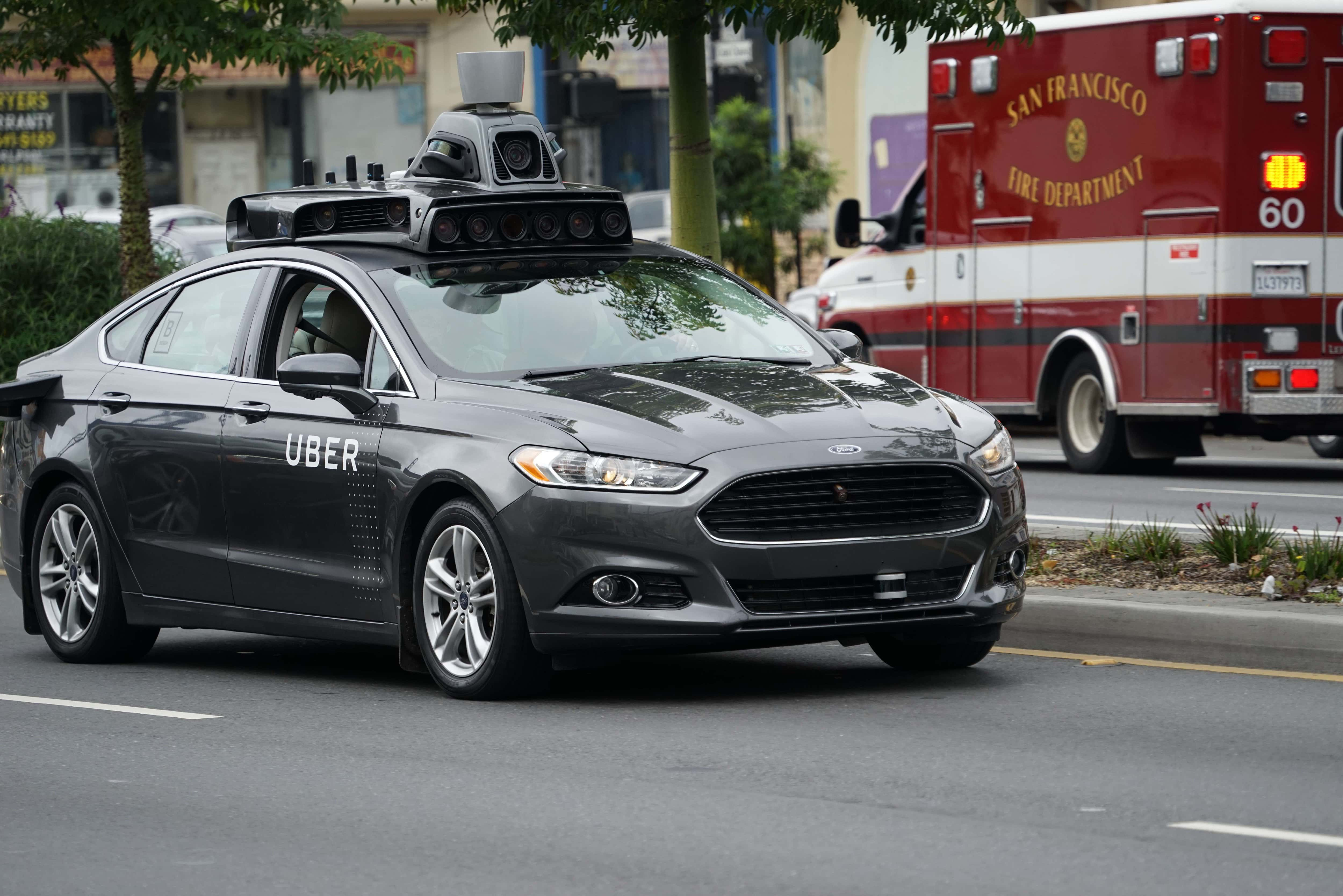 A Ford-built Uber autonomous vehicle prototype spotted in San Francisco on November 6, 2016. (Image Credit: Dllu: Wikimedia Commons)