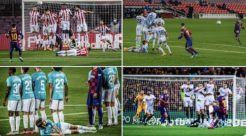 Messi Free Kick Players Lying Down Behind Wall