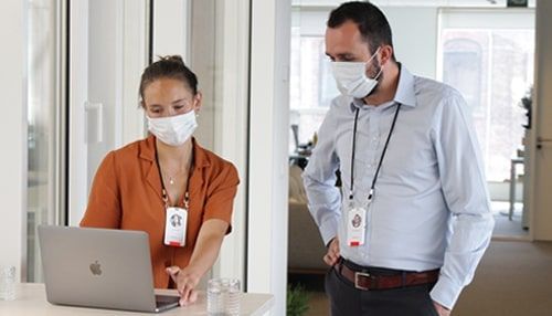 workplace team members running COVID-19 contact tracing