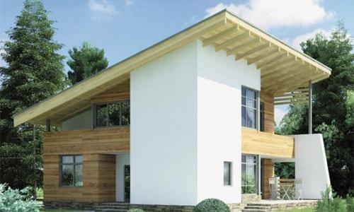 Дом покрытый односкатной крышей.