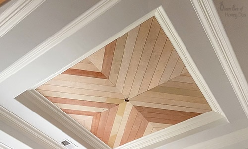 chevron planked ceiling unfinished