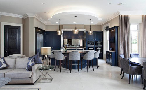 navy cabinets in open space