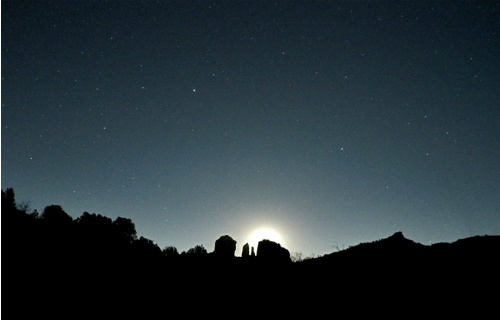 Moon Rising over Cathedral Rock