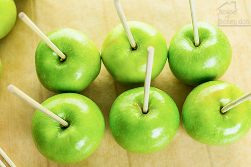 green apples with sticks