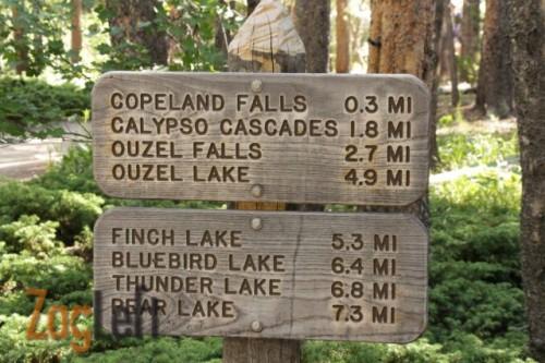 Calypso Cascades trailhead sign from ZagLeft