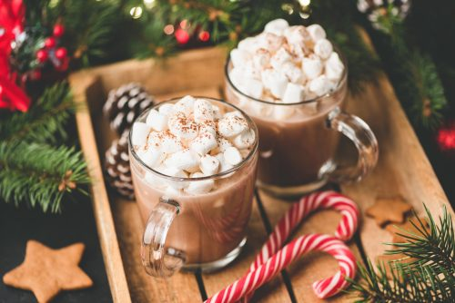 Hot chocolate with marshmallows, warm cozy Christmas drink