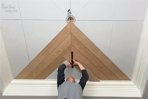 marking cuts for planked ceiling