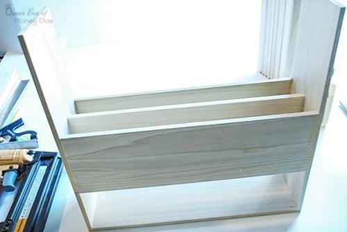 cutting board organizer partially assembled