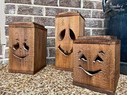 Halloween lanterns with stained finish