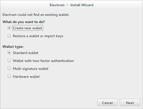 electum install wizard