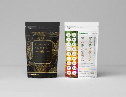 サプリメント「プラセンタゴールド+」&「マルチビタミン&マルチミネラル」パッケージデザイン:エフ琉球(seedcoms)