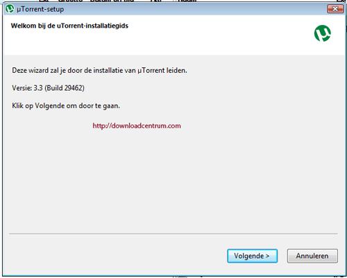 het welkomstscherm tijdens installatie van de uTorrent installatiehet welkomstscherm van uTorrent