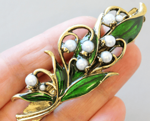 hair accessory Barrette with Lily of the Valley