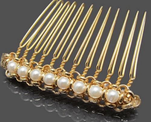 hair accessory Gold pearl hair comb