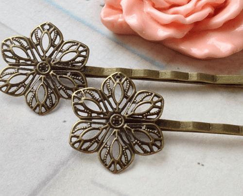 hair accessory Handmade Antiqued Bronze Setting Bobby Pins