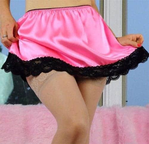 Sheer All satin super mini French Budoir with Lace trim Vintage Style Sissy half slip lingerie skirt