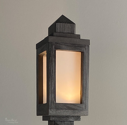 DIY wooden lantern with frosted glass