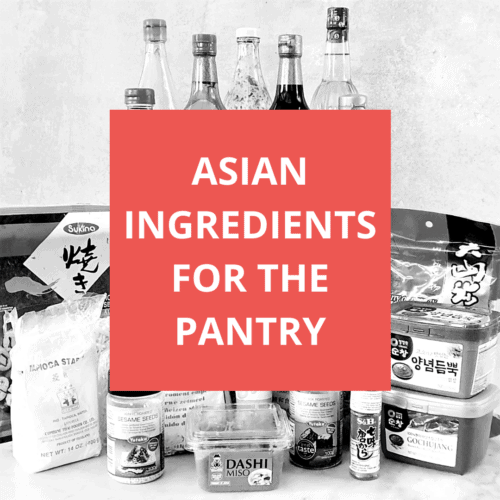 Graphic with a black and white version of a display of the Asian Ingredients with a text overlay with the post title in white lettering on a square red background.