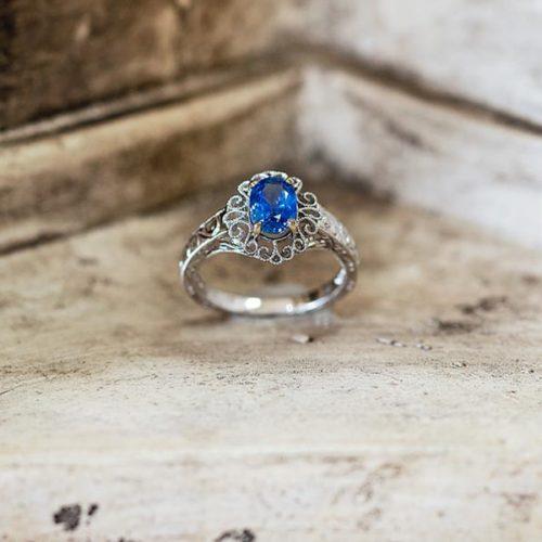 Greek Blue Sapphire Wedding Ring
