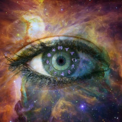 Abbildung eines Auges mit Astrologie Tierkreiszeichen um die Iris