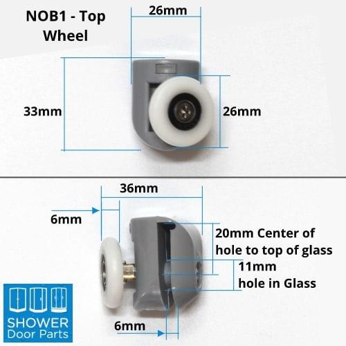 NOT1 Top dimensions Shower Door Parts