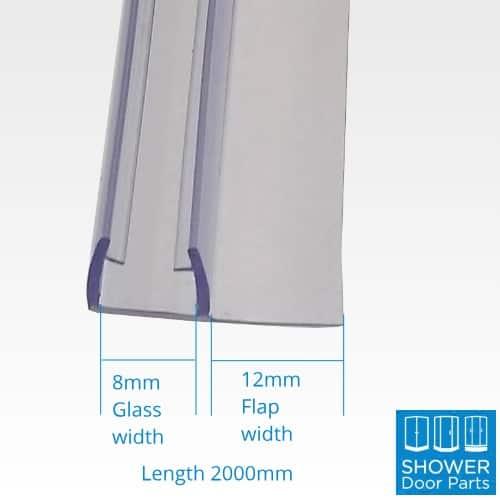 Vertical seals 8mm glass 2000mm long dimensions shower door parts