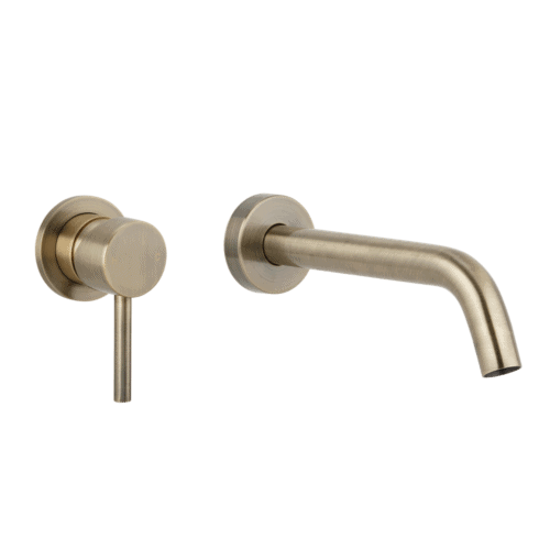 Elysian Minimal Mixer & Spout Set - Brushed Brass