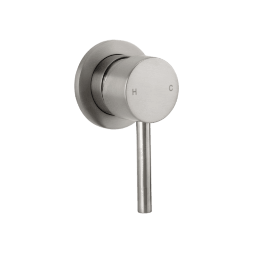 brushed nickel shower mixer - elysian minimal