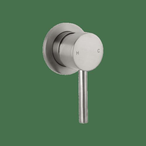 brushed nickel shower mixer - elysian minimal