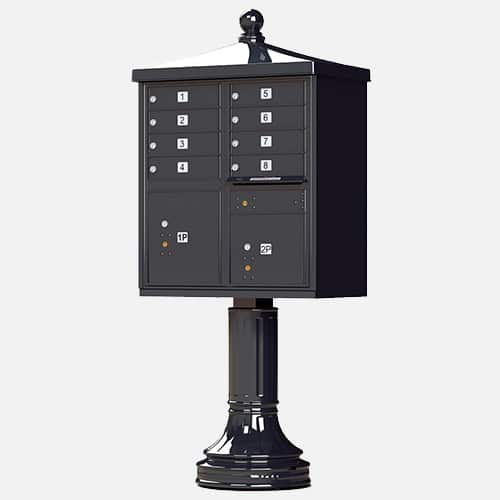Traditional style cluster mailbox and parcel unit with finial for apartment complexes, communities and residential centers. Brandon Industries model CBU-TR-08 comes with 8 tenant boxes and 2 parcel units.