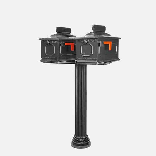 Dual cast aluminum top mount mailbox unit on round pole with address plaques. Brandon Industries model DXF54-2415-1X.