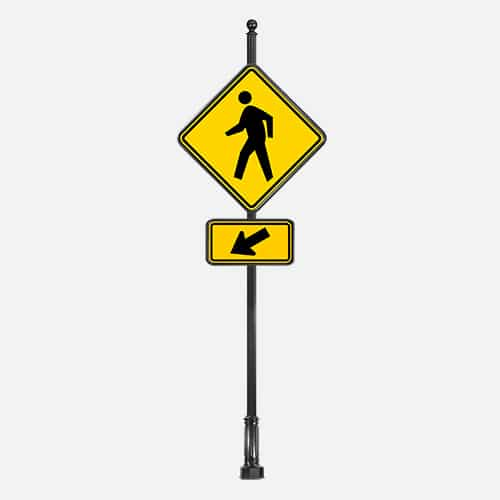 Pedestrian crossing warning street signs. Brandon Industries model SPF3-5A is a fluted round pole with a ball finial.