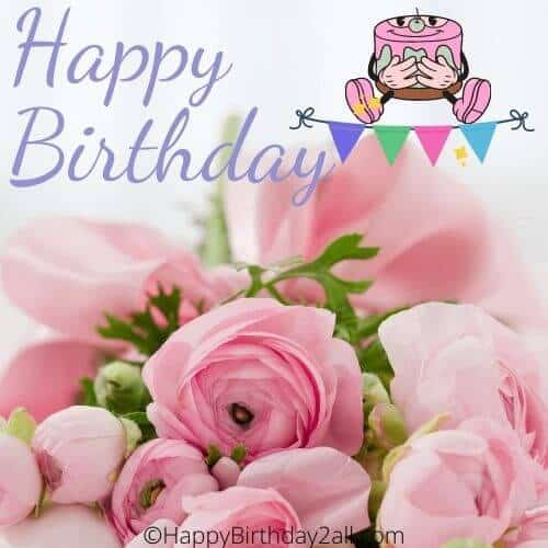 Happy Birthday ecard with pink roses