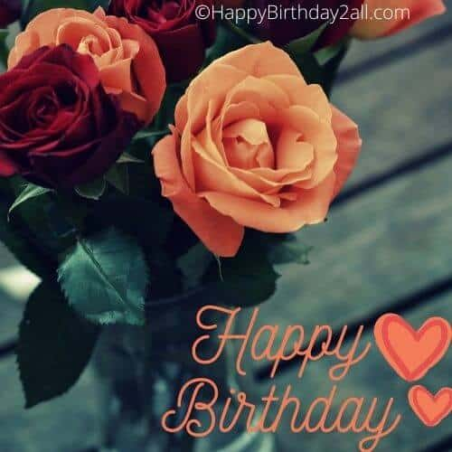 Happy Birthday image with orange and red rose