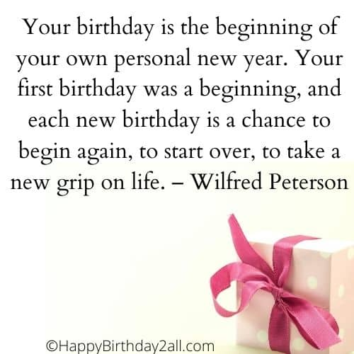 birthday is the beginning of your new year quote by Wilfred Peterson