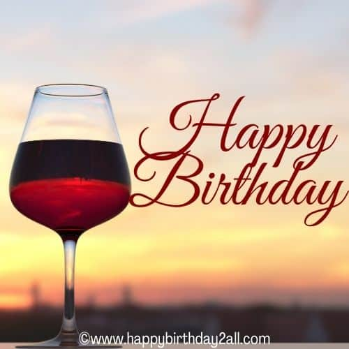 Happy Birthday image with wine glass