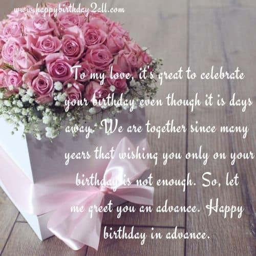 happy birthday to love in advance